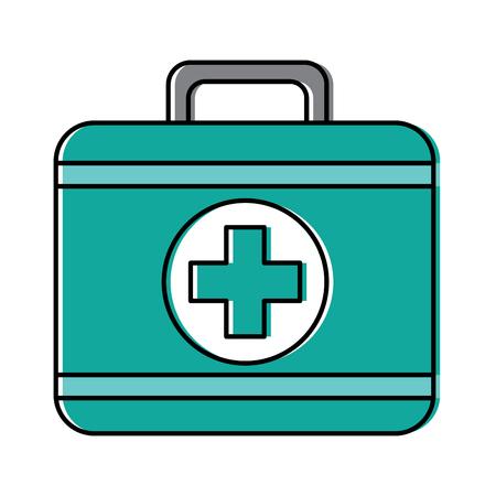 Kit first aid medical equipment icon illustration design. 向量圖像