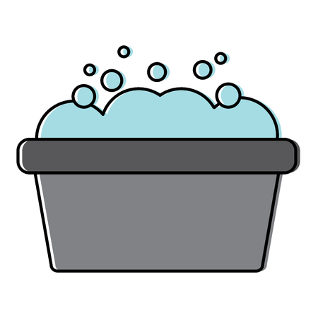 Bucket washer foam soap clean illustration design.