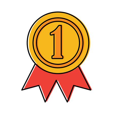 Award rosette number one competition illustration.