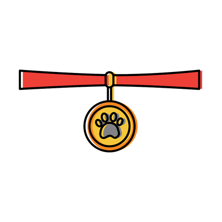 애완 동물 목걸이 메달 식별 동물 그림입니다. 일러스트