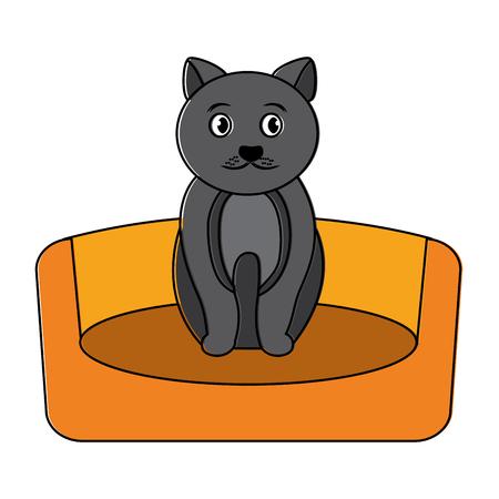 침대 그림에서 동물 애완 동물입니다.
