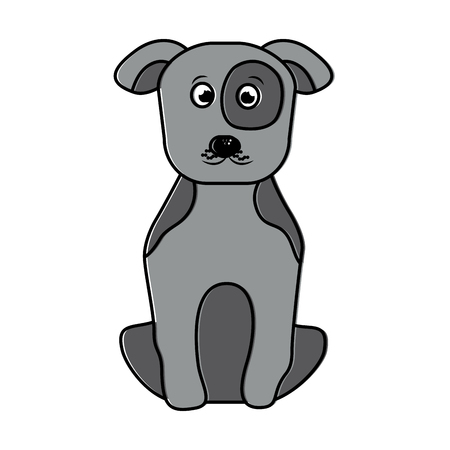 Pet dog sitting animal domestic illustration. Illustration