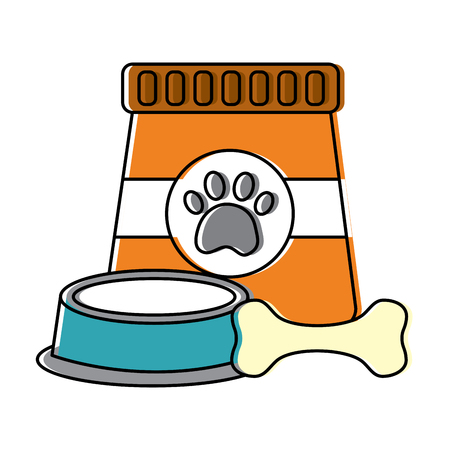 Pet food and bowl bone animal illustration.