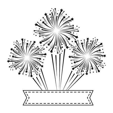 リボンベクトルイラストデザインで花火爆発飾り