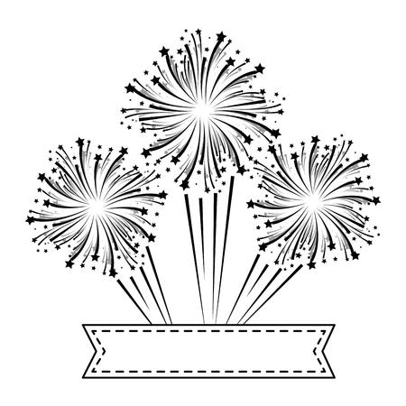 Esplosione di fuochi d'artificio decorativi con disegno di illustrazione vettoriale nastro Archivio Fotografico - 92277114
