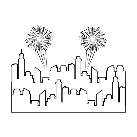 Progettazione dell'illustrazione di vettore dell'icona della siluetta di paesaggio urbano delle costruzioni Archivio Fotografico - 92277596