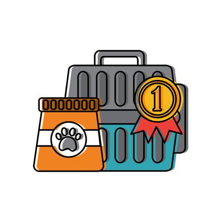 pet travel carrier bag and food vector illustration Illustration
