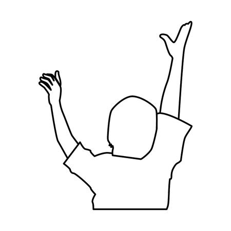 Silueta humana con las manos encima de diseño de ilustración vectorial Foto de archivo - 92277603