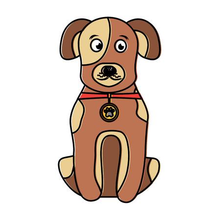 Cartoon dog with collar sitting pet animal vector illustration