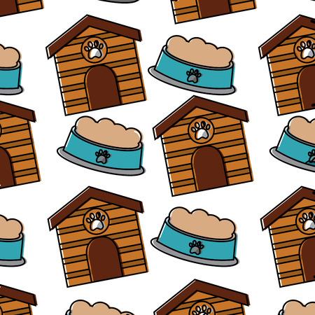 Huisdierenhuis en kom vectorillustratie van het voedsel de dierlijke naadloze patroon Stock Illustratie