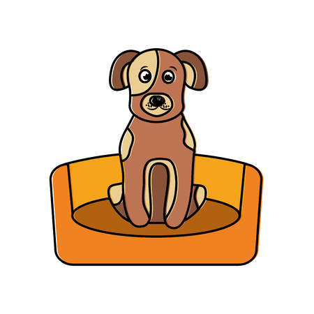 Dog sitting in the bed pet animal vector illustration