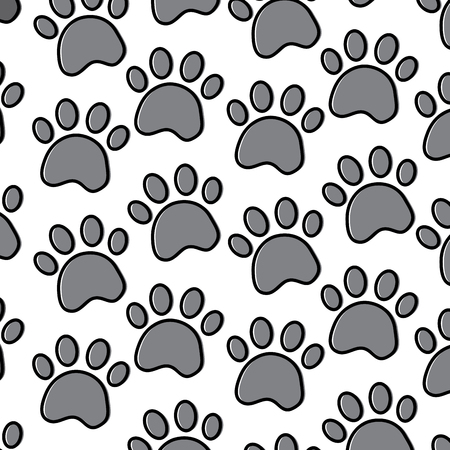 pet paw animal seamless pattern vector illustration