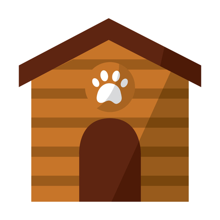 pet house wooden with paw print vector illustration