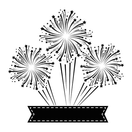 fireworks explosion decorative with ribbon vector illustration design
