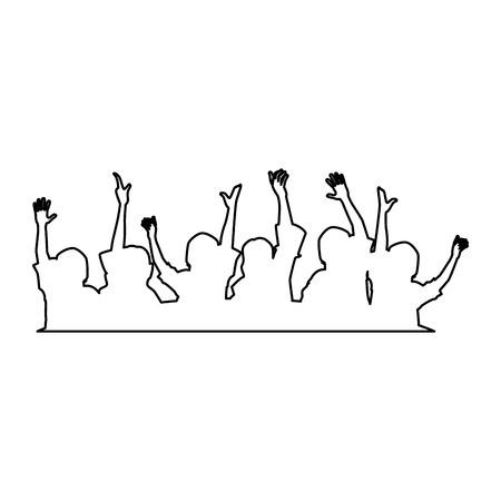 Personnes avec les mains en haut silhouette design illustration vectorielle Banque d'images - 92281113