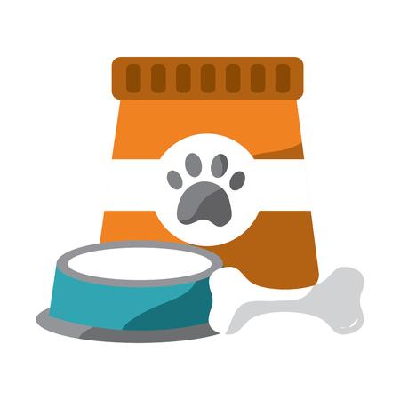 pet food and bowl bone animal vector illustration Ilustrace