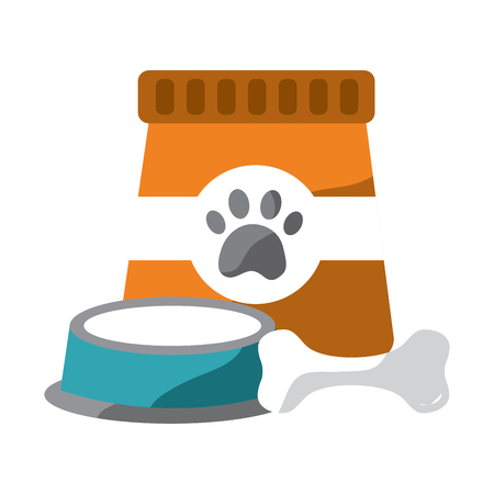 pet food and bowl bone animal vector illustration Illustration