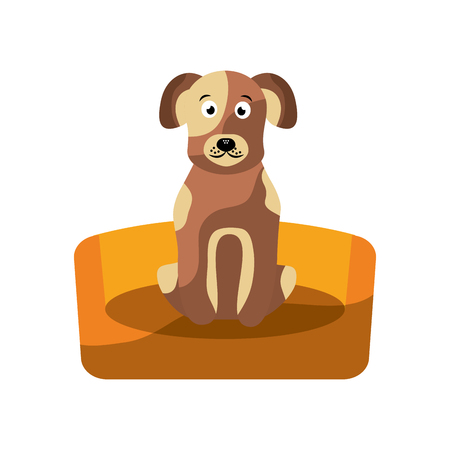 pet dog sitting animal domestic vector illustration Illustration