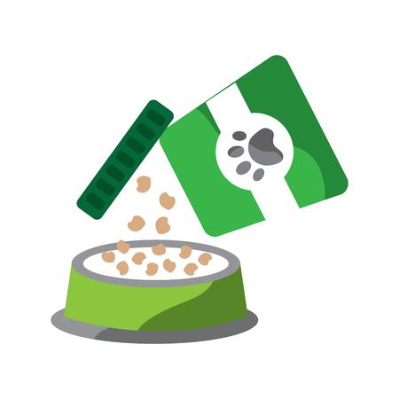 voedsel voor huisdieren gieten op de plaat vectorillustratie