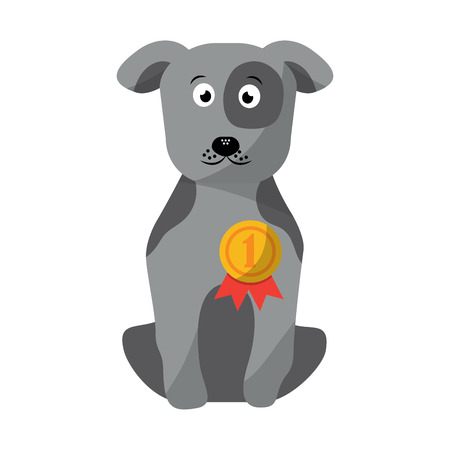 pet dog with medal sitting animal domestic vector illustration