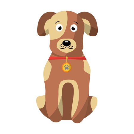 cartoon dog with collar sitting pet animal vector illustration Ilustração