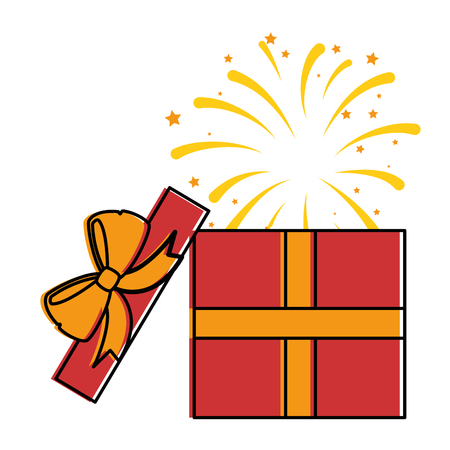 gift box present with fireworks explosion vector illustration design