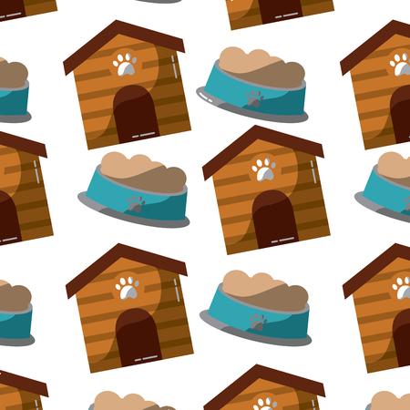 Huisdier en kom voedsel dier patroon illustratie. Stock Illustratie