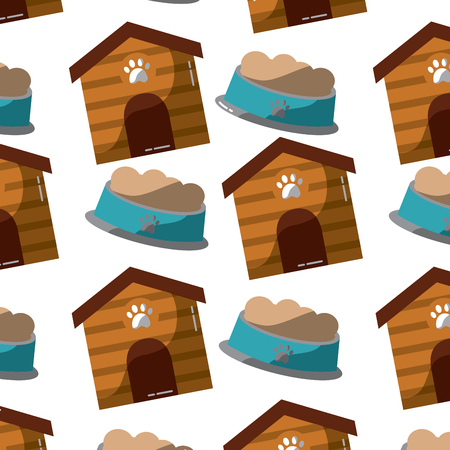 Pet house and bowl food animal pattern illustration. Illusztráció