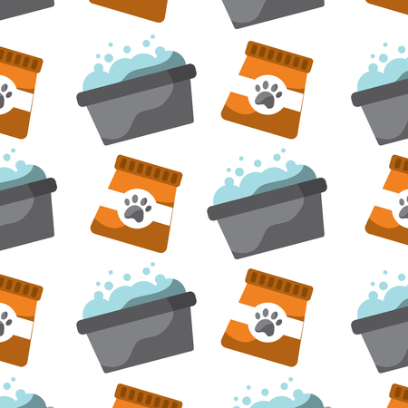 pet food and grooming seamless pattern vector illustration