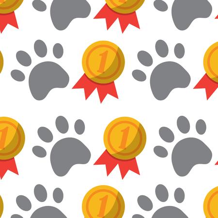 pet dog head and bone toy food pattern vector illustration Illustration