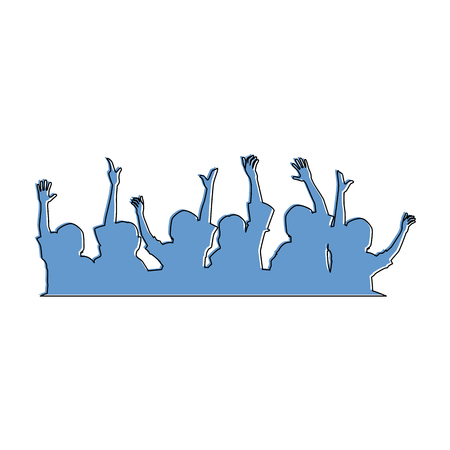 People with hands up silhouette illustration design.