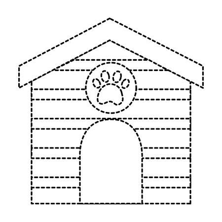 Pet house en bois avec illustration empreinte de patte. Banque d'images - 92279553
