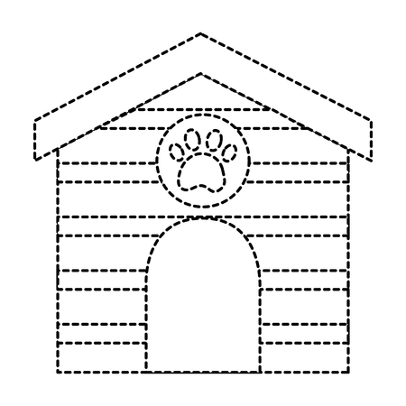 Pet house wooden with paw print illustration.
