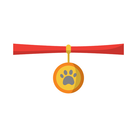 pet necklace medal identity animal vector illustration Illustration