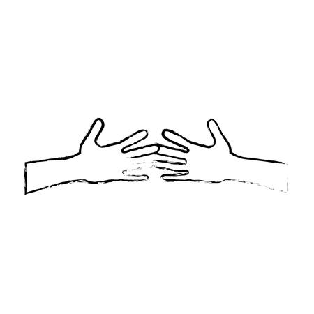 mãos agitar humano isolado ícone vector ilustração design