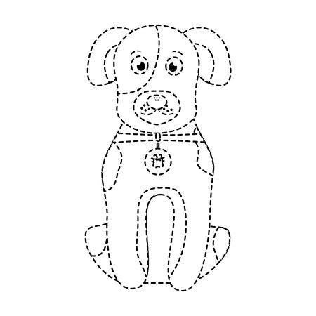 cartoon dog with collar sitting pet animal vector illustration Illustration
