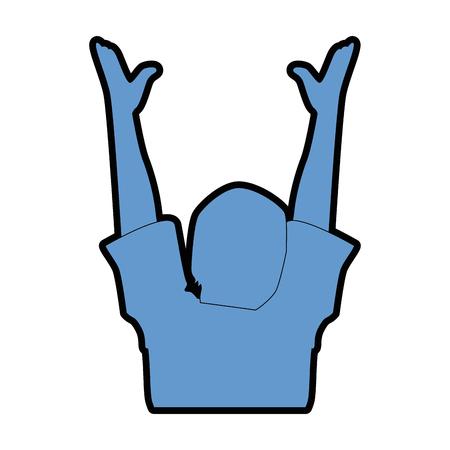 Silueta humana con las manos encima de diseño de ilustración vectorial Foto de archivo - 92281358