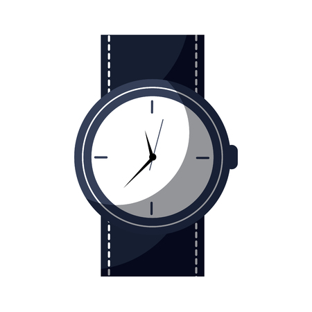 round wristwatch accessory time fashion icon vector illustration Illustration