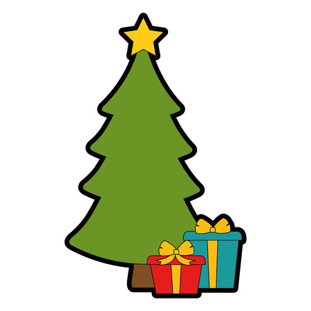 christmas tree with gifts vector illustration design