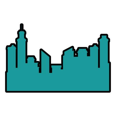 Progettazione dell'illustrazione di vettore dell'icona della siluetta di paesaggio urbano delle costruzioni Archivio Fotografico - 92281373