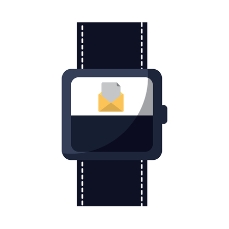 smart watch with incoming message mail icon vector illustration