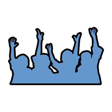 mensen met handen omhoog silhouet vector illustratie ontwerp