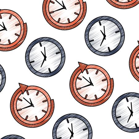Bedrijfsklokbeheer rond de dienst naadloze patroon vectorillustratie Stockfoto - 92279154