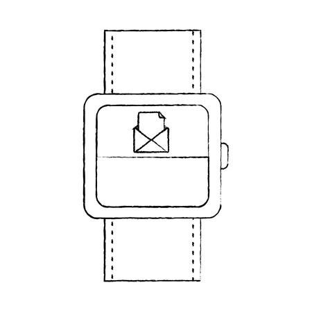 着信メッセージメールアイコンベクトルイラスト付きスマートウォッチ