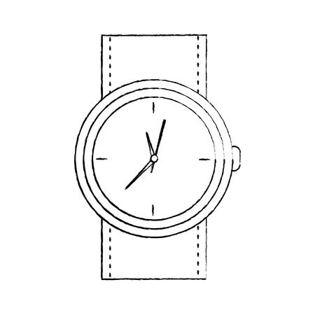 round wristwatch accessory time fashion icon vector illustration Illustration