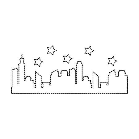 Progettazione dell'illustrazione di vettore dell'icona della siluetta di paesaggio urbano delle costruzioni Archivio Fotografico - 92338783