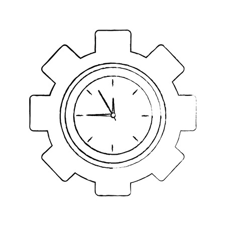 business clock gear work time vector illustration 向量圖像
