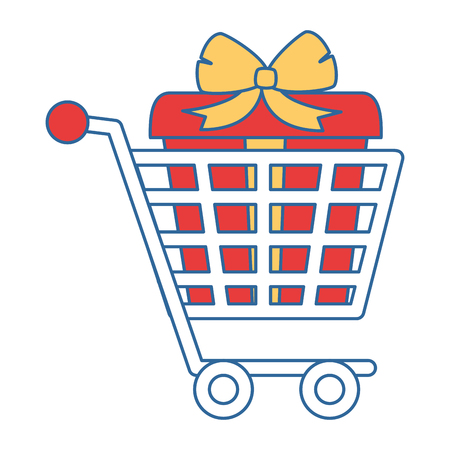 shopping cart with gifts vector illustration design