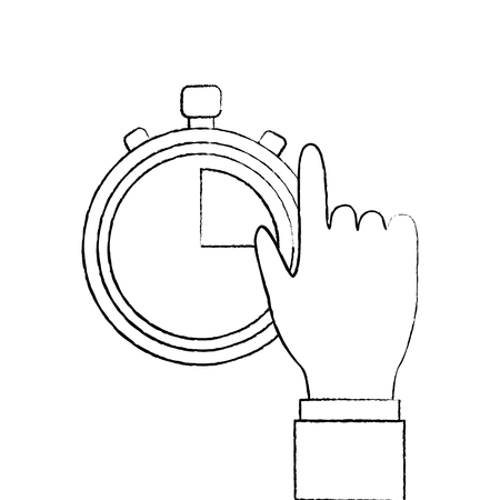 hand man with clock time management productivity vector illustration