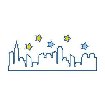 Progettazione dell'illustrazione di vettore dell'icona della siluetta di paesaggio urbano delle costruzioni Archivio Fotografico - 92281868